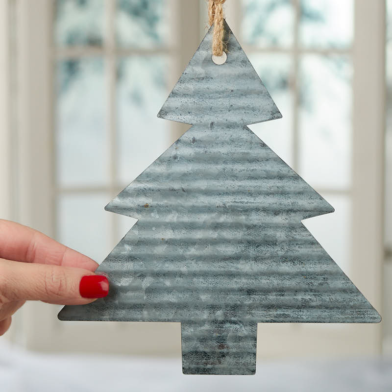 Corrugated Galvanized Metal Christmas Tree Ornament