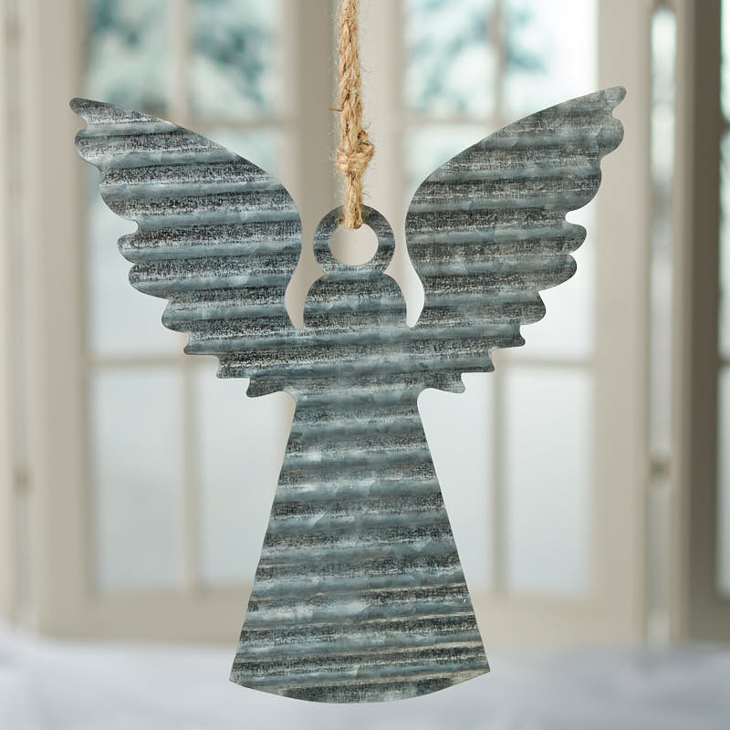 Corrugated Galvanized Metal Angel Ornament Rusty Tin