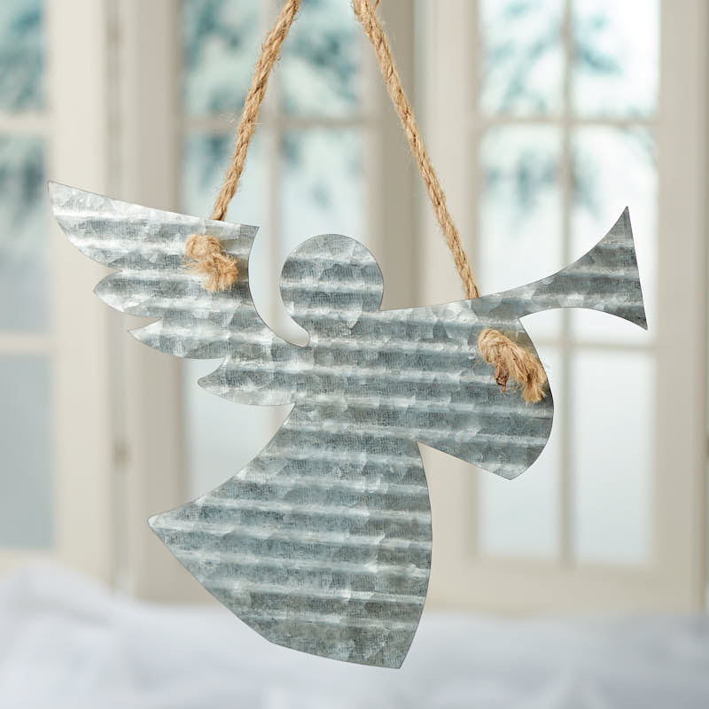 Corrugated galvanized metal angel ornament christmas