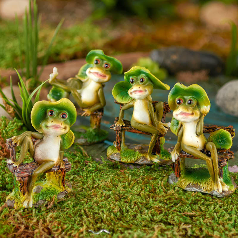 Charming Bench Sitting Frogs Fairy Garden Supplies