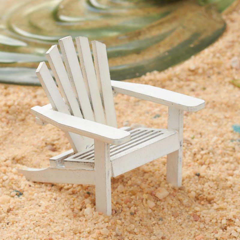Miniature White Weathered Adirondack Chair Coastal Decor