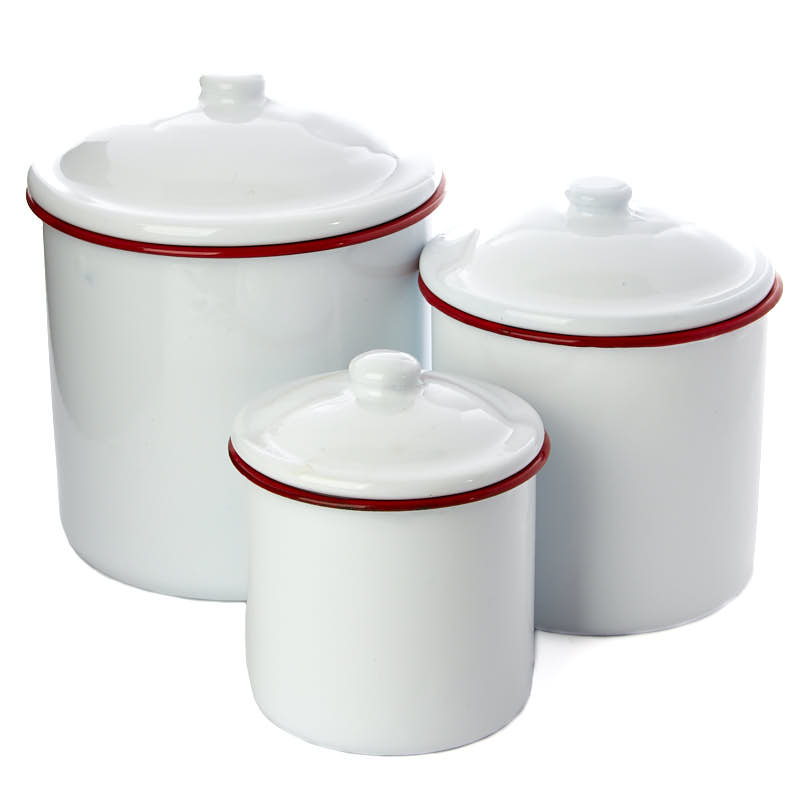 where to buy kitchen canisters white enamel canister set decorative accents primitive decor 7352
