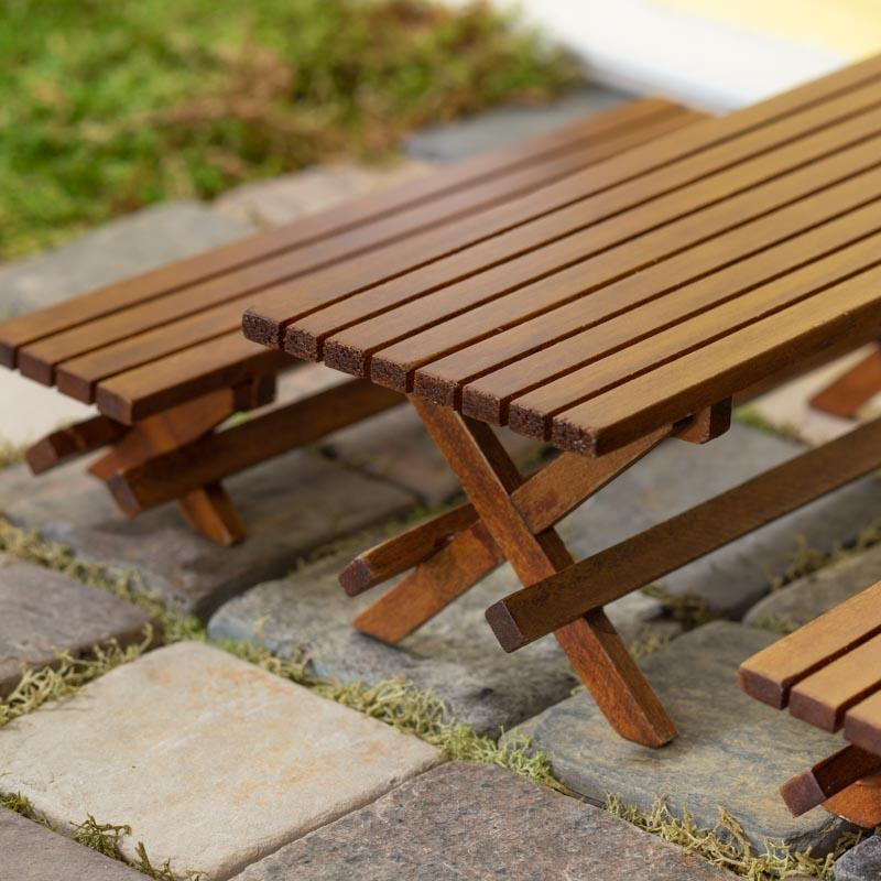 Miniature Wood Picnic Table And Bench Set Recreational Miniatures - Picnic table supplies