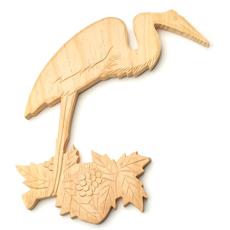 Hand Carved Egret on Branch Wall Decor - Wood Cutouts - Unfinished ...