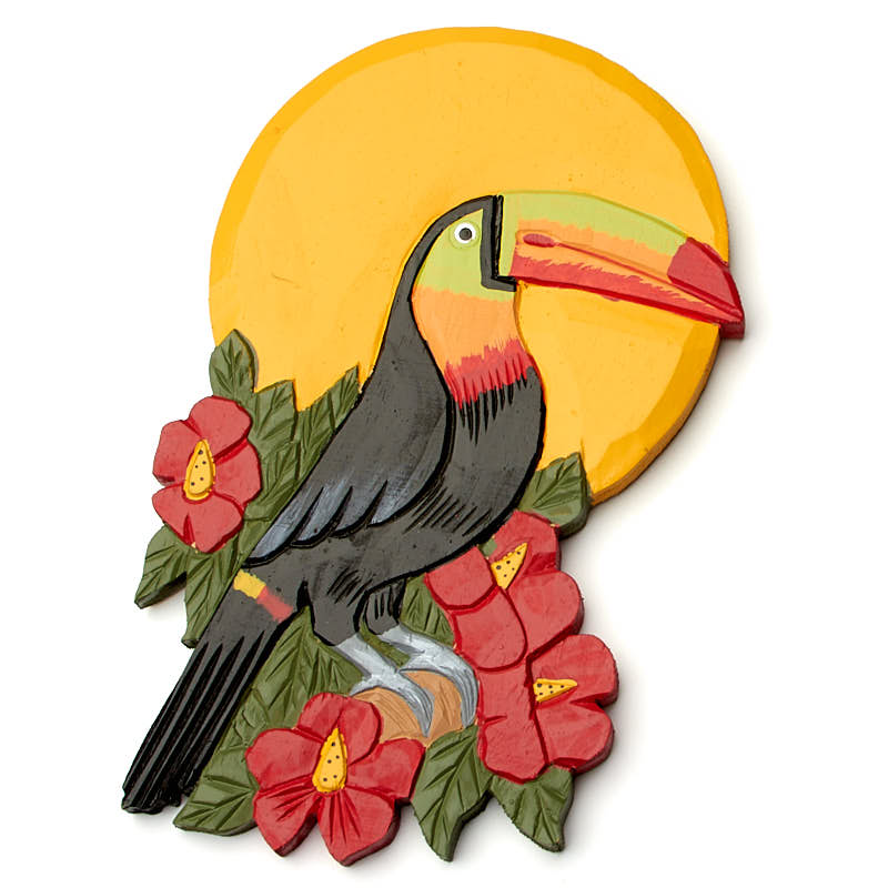Hand Carved Toucan at Sunset Wall Decor - Wood Cutouts - Unfinished ...