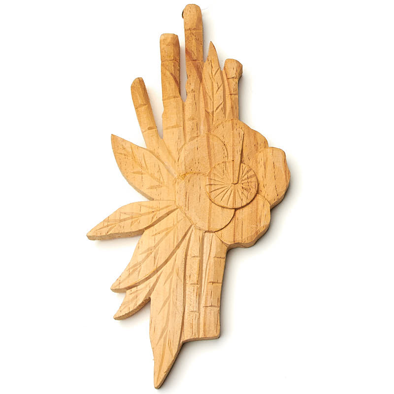 Hand Carved Hibiscus and Bamboo Wall Decor - Wood Cutouts - Wood ...