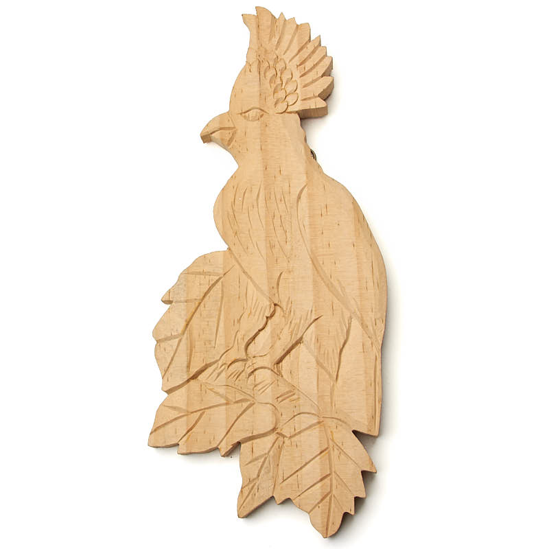 Hand Carved Cockatoo Wall Decor - Wood Cutouts - Unfinished Wood ...