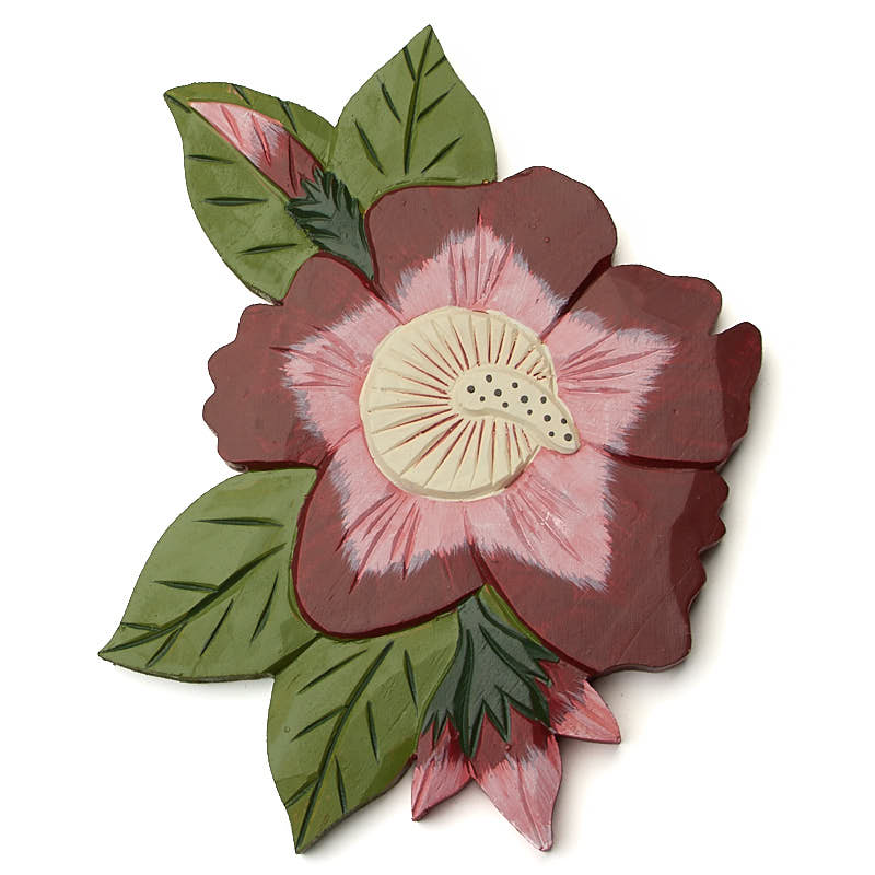 Hand carved tropical flower wall decor on sale home decor for Home decor items on sale