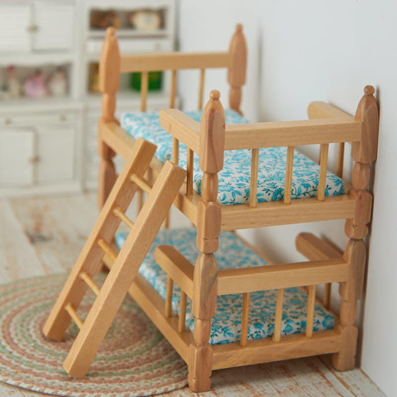 Bedroom Art Supplies: Dollhouse Miniature Oak Bunk Beds