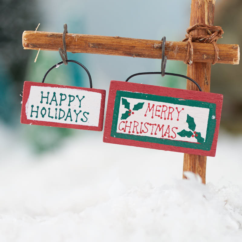 miniature happy holidays and merry christmas signs christmas