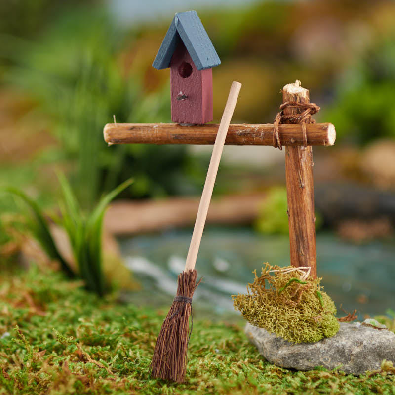 Miniature straw broom and birdhouse on sale craft supplies for Straw brooms for crafts