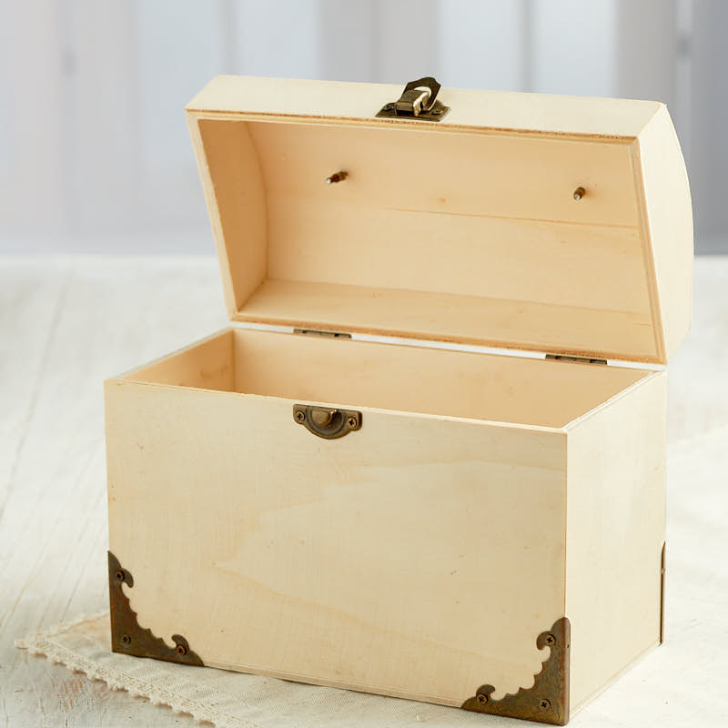 Unfinished wood trunk box purse wood craft kits for Wooden craft supplies online
