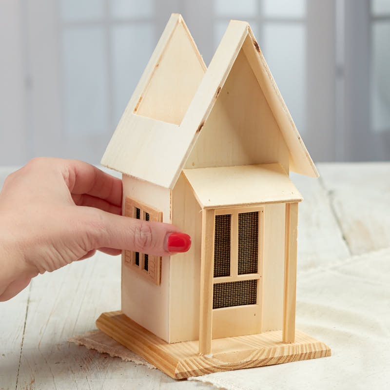 Unfinished wood planter house wood craft kits for Wooden craft supplies online