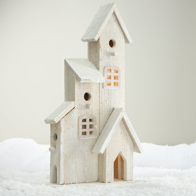 White Washed Wood Church Birdhouse - Table Decor - Home Decor