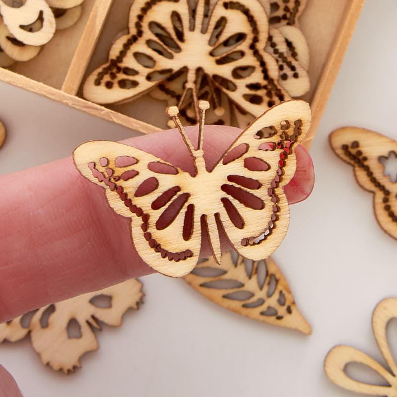Unfinished Wood Laser Cut Butterfly Garden Cutouts Wood