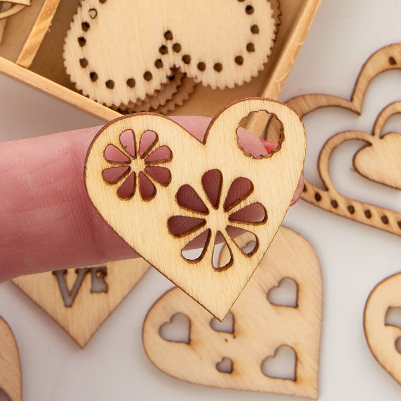 Unfinished wood laser cut romantic heart cutouts wooden for Wooden hearts for crafts