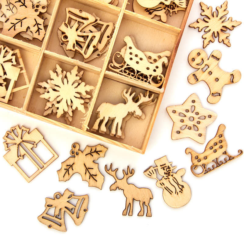 Unfinished wood laser cut christmas cutouts wood cutouts for Wooden christmas cutouts