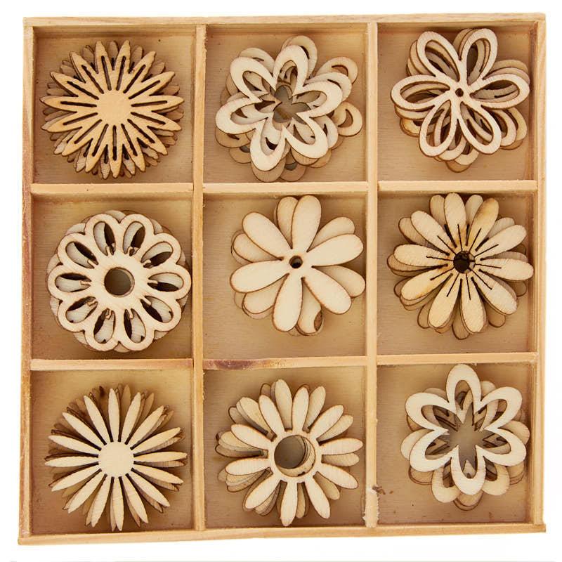 Unfinished Wood Laser Cut Flower Cutouts Wood Cutouts
