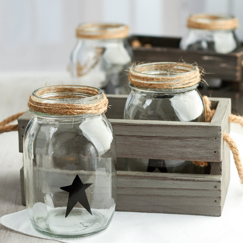 Primitive Wood Crate and Mason Jars Set