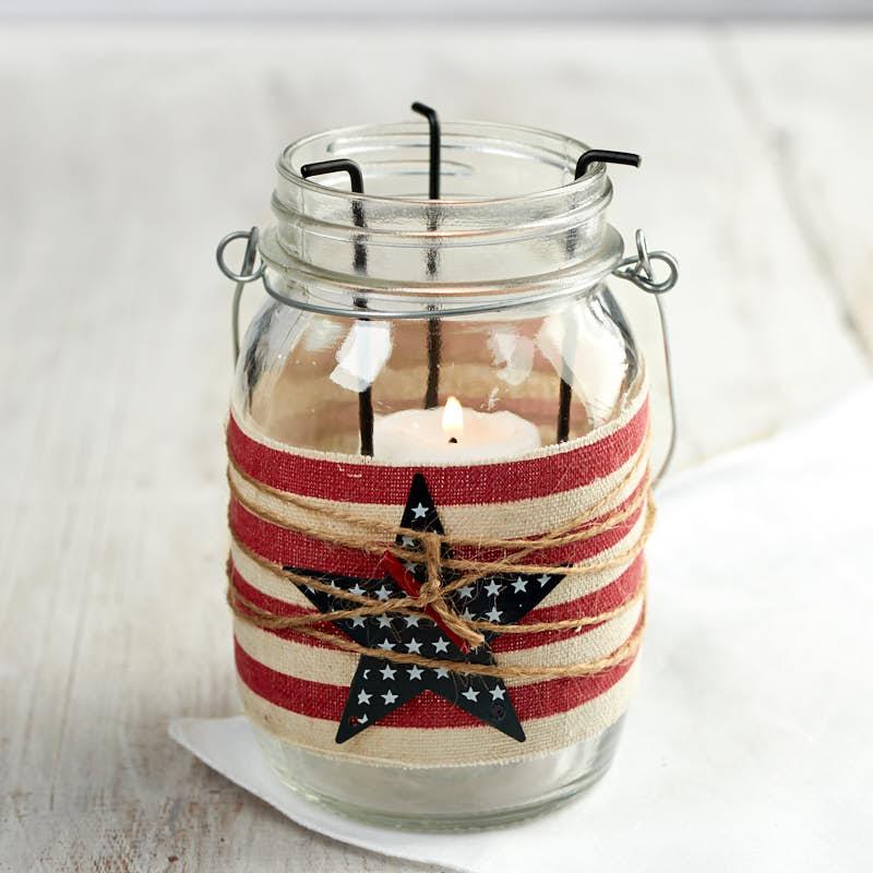 Home Interiors Candles Catalog: Americana Mason Jar Tealight Candle Holder