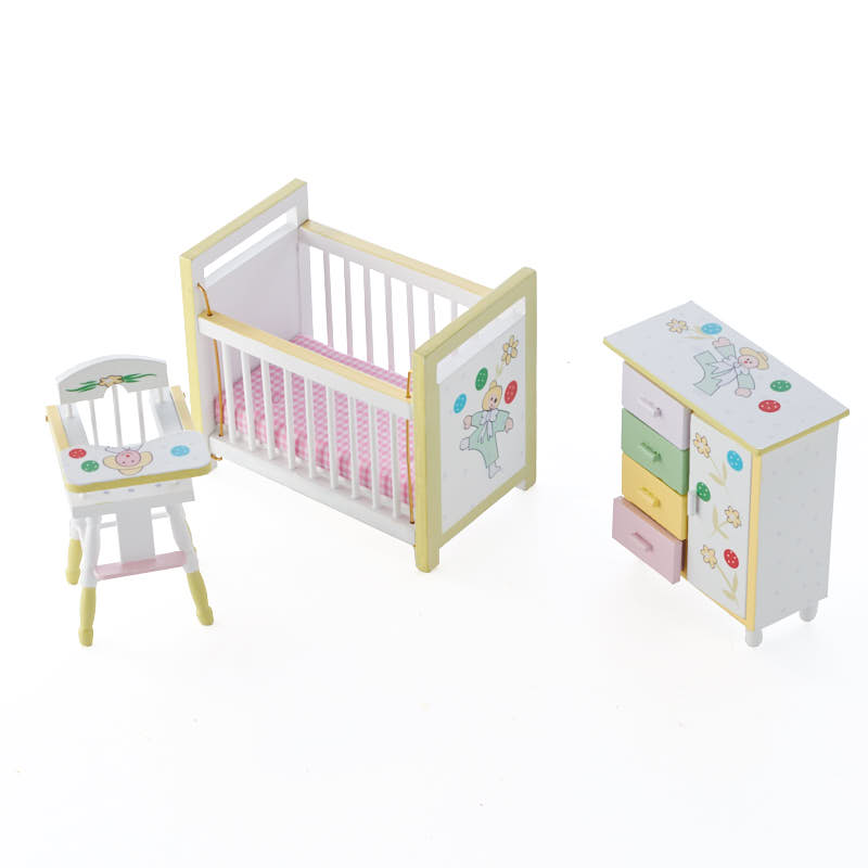 Dollhouse Miniature Baby Nursery Set Miniature Furniture