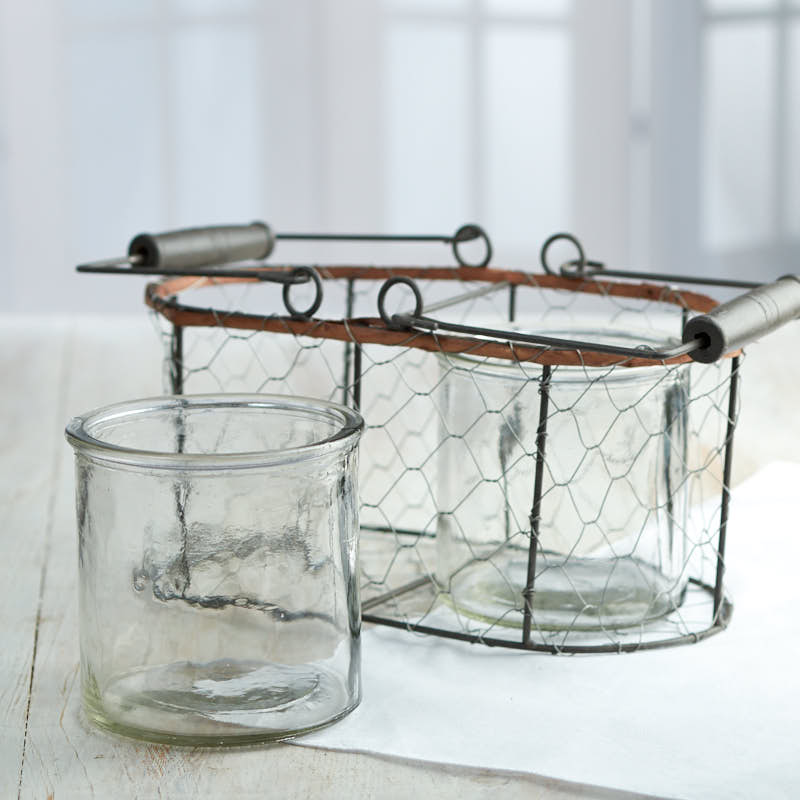 Rustic Chicken Wire Basket and Glass Jars Set - Jar Lids - Basic ...