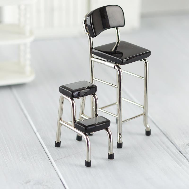 Dollhouse Miniature Retro Kitchen Chair and Step Stool Set