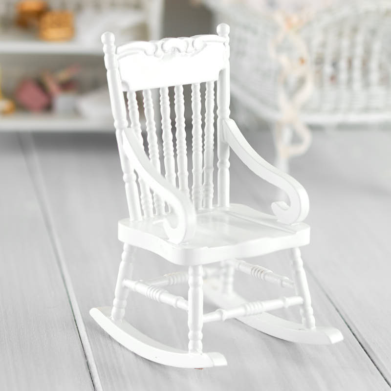 Dollhouse Miniature White Wood Rocking Chair Nursery