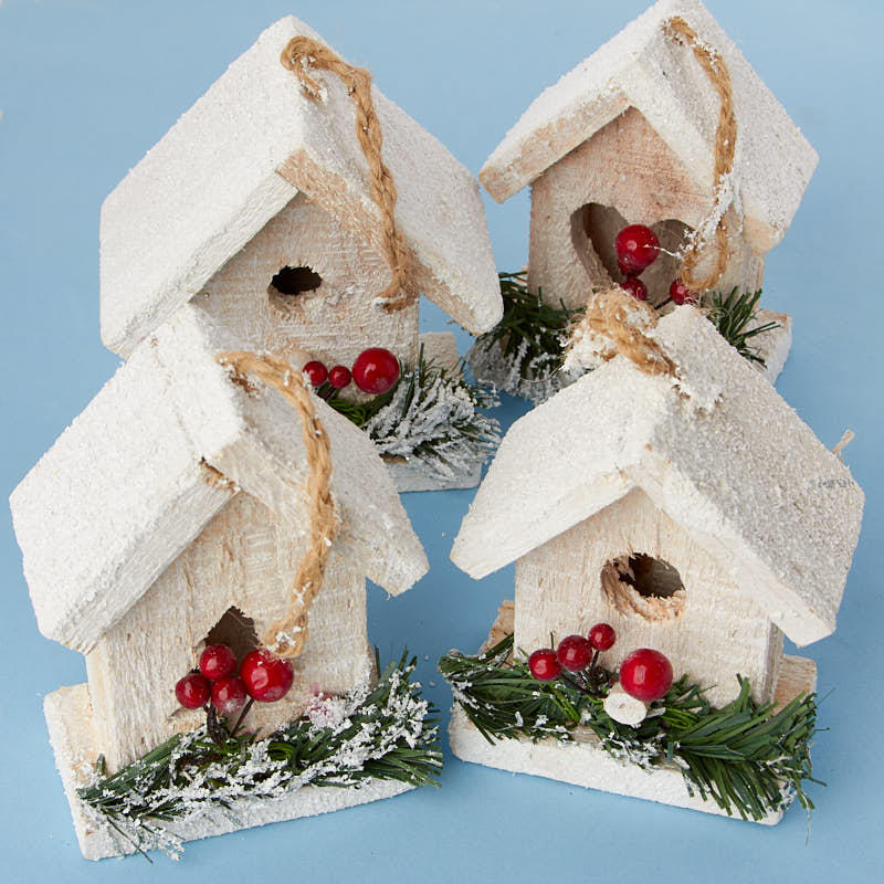Snowy Birdhouse Ornament Set - Christmas Ornaments ...
