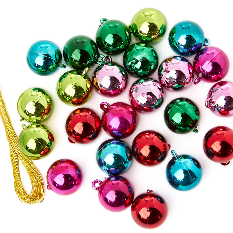 Each colorful ornament in this heavily glittered set comes ready to hang with a gold cord and measures 1¼