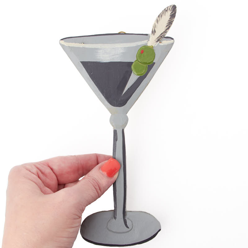 Hand Carved Martini Wall Decor