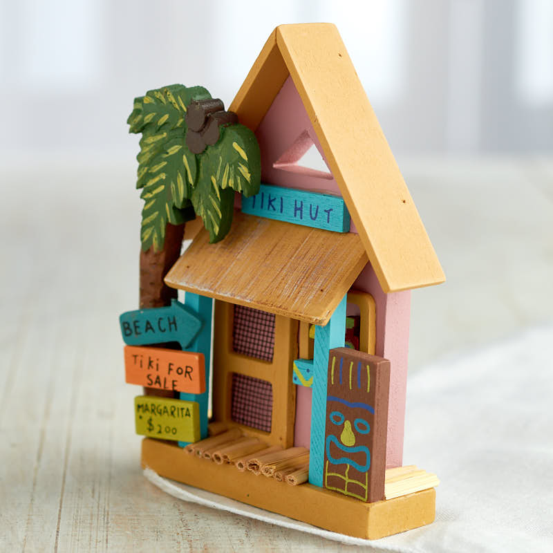 Miniature tiki hut coastal decor home decor for Tiki decorations home