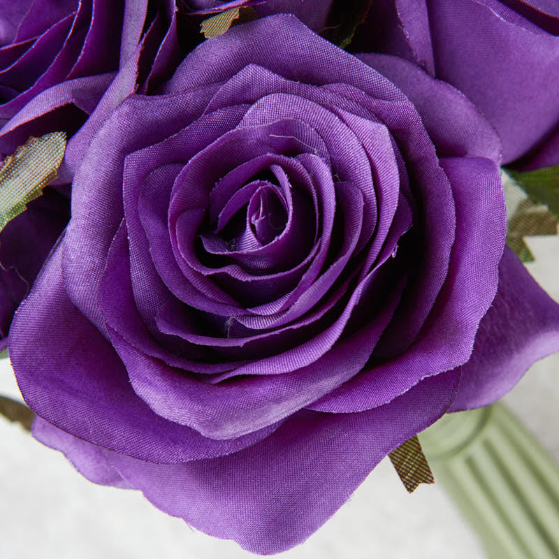 Dark Purple Artificial Rose Nosegay Bouquet Bushes And
