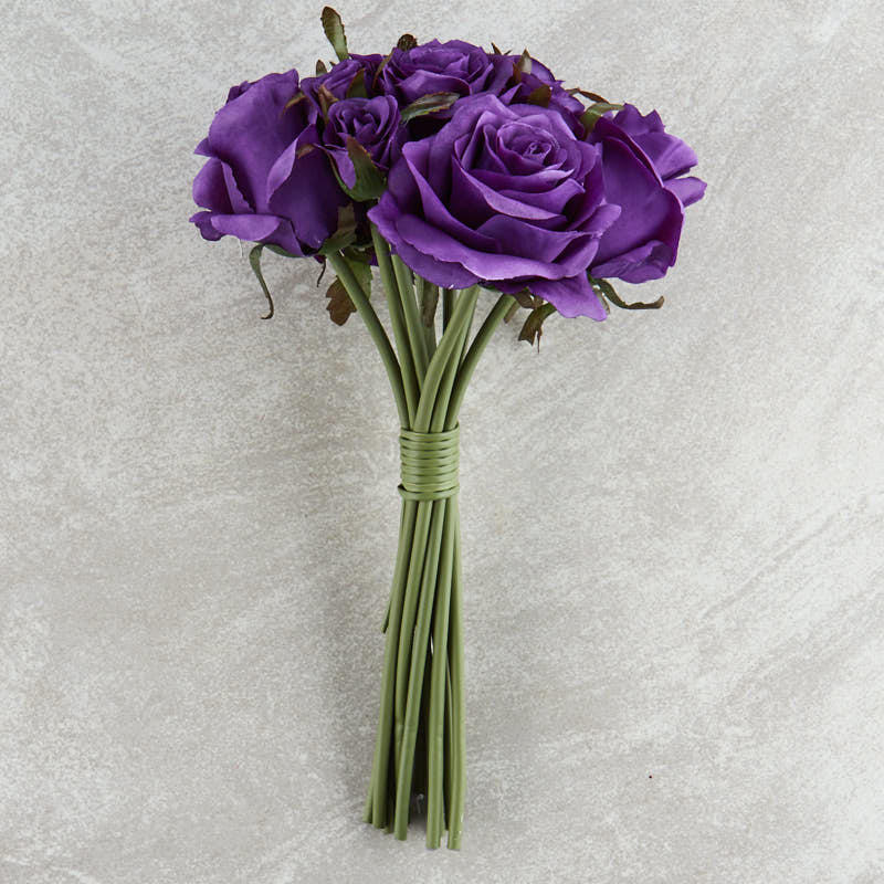 Dark Purple Artificial Rose Nosegay Bouquet Bushes