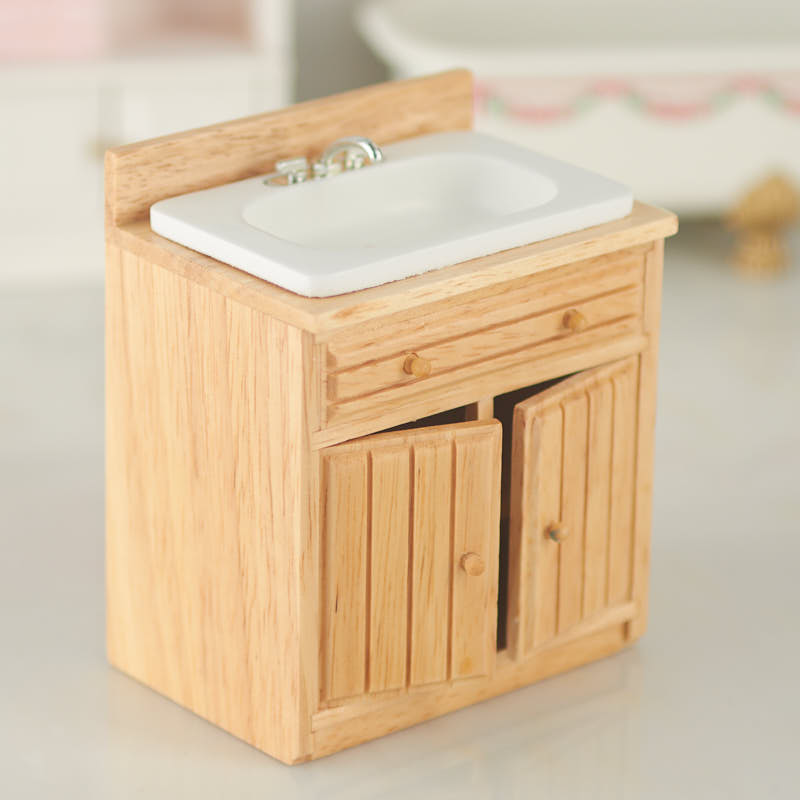 Dollhouse Kitchen Sink Dollhouse miniature kitchen sink with oak cabinet kitchen click here for a larger view workwithnaturefo