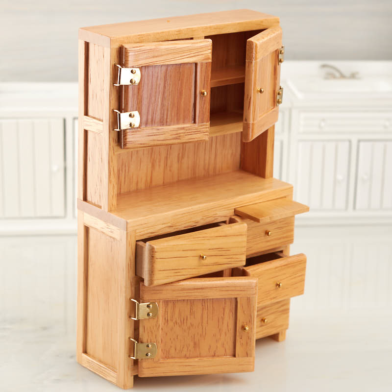 Click Here For A Larger View & Dollhouse Miniature Oak Hoosier Cabinet - Kitchen Miniatures ...