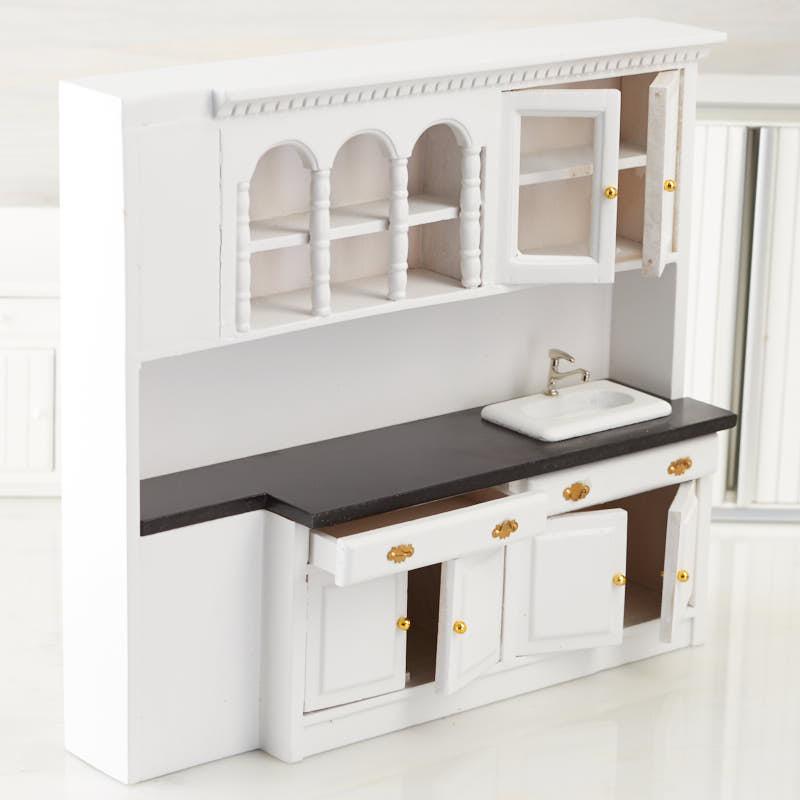 Dollhouse Kitchen Sink Dollhouse miniature white kitchen sink and cabinets kitchen click here for a larger view workwithnaturefo