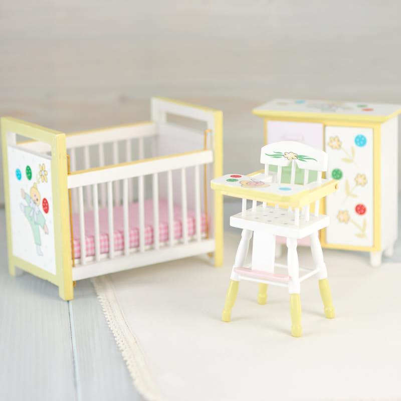 Dollhouse Miniature Baby Nursery Set Miniature Furniture