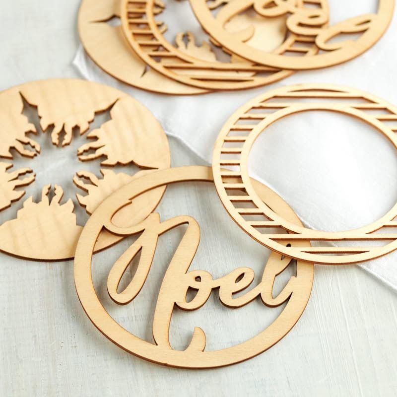 """Noel"" Holiday Laser Cut Wood Ornaments - Christmas ..."