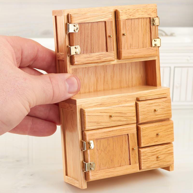 Dollhouse Miniature Oak Hoosier Cabinet Kitchen