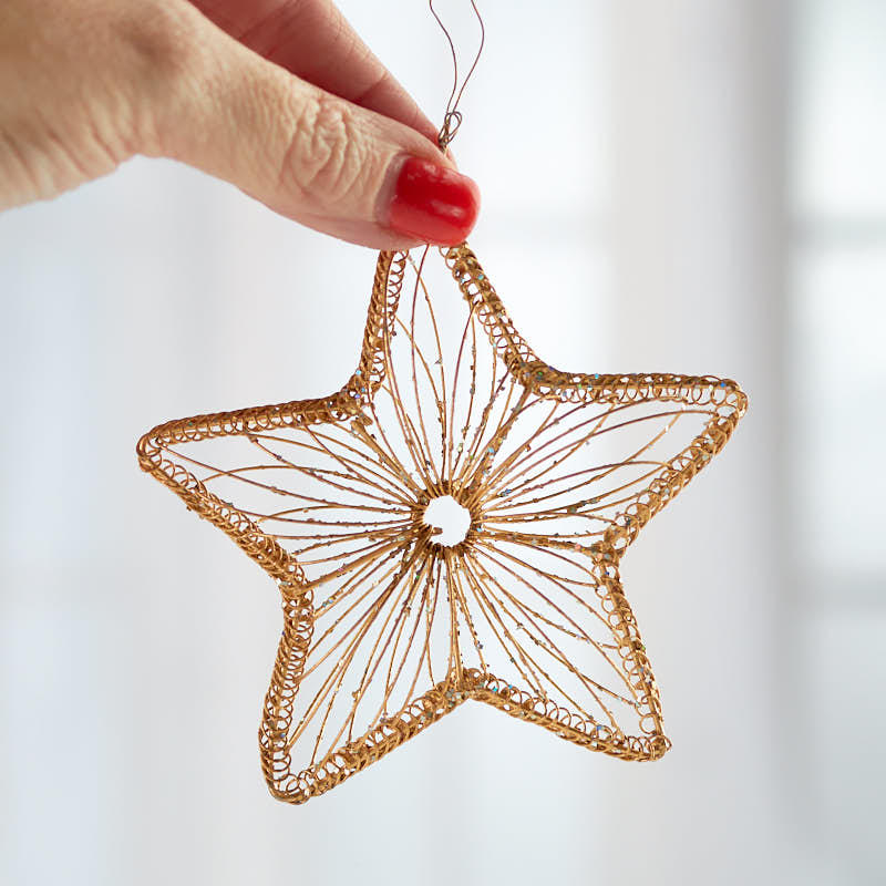 Gold Wire Star Ornament - Christmas Ornaments - Christmas ...