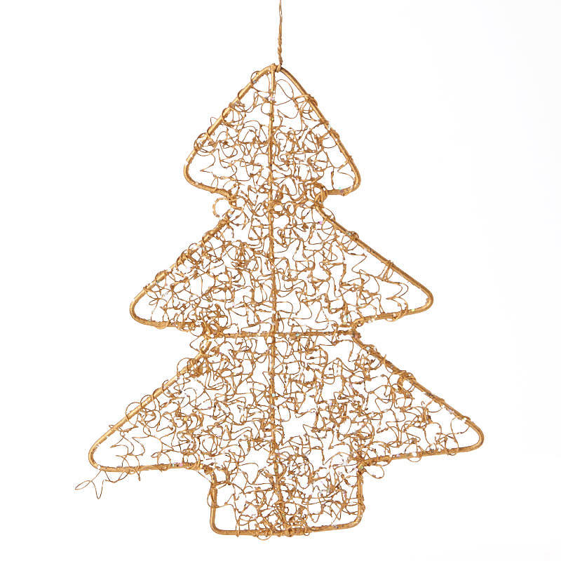 Gold wire mesh christmas tree ornament