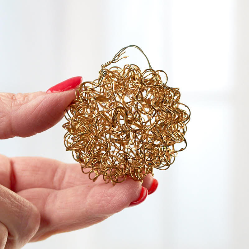 Small gold wire mesh ball ornament christmas ornaments for Small gold christmas ornaments