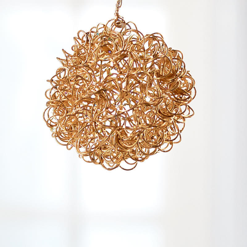 Gold Wire Mesh Ball Ornament