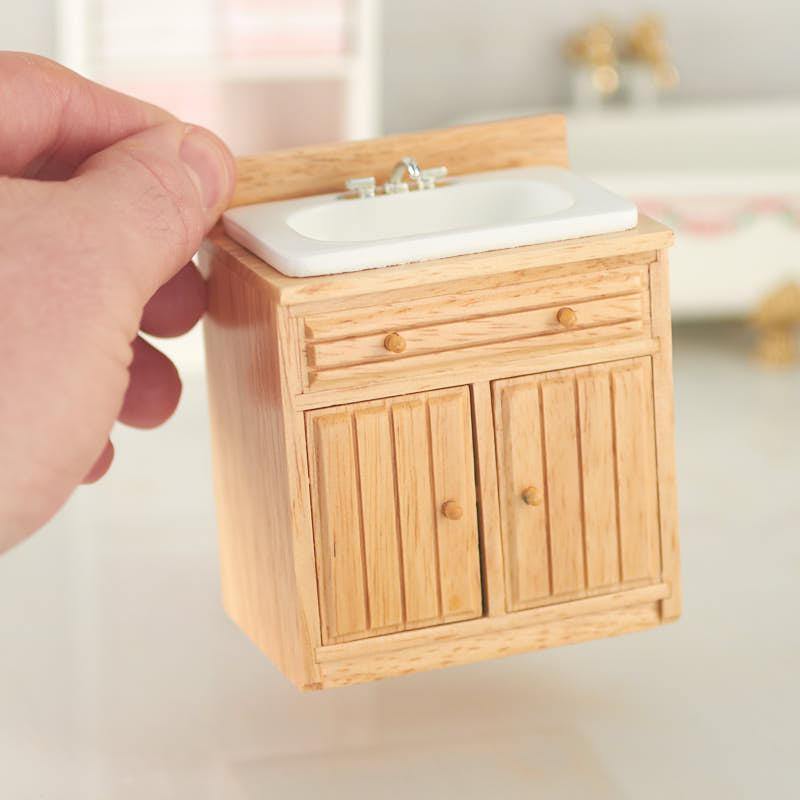 Dollhouse Miniature Kitchen Sink With Oak Cabinet Kitchen