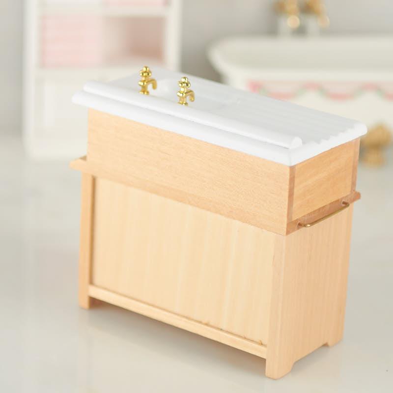 Dollhouse Miniature Kitchen Sink With Oak Cabinet