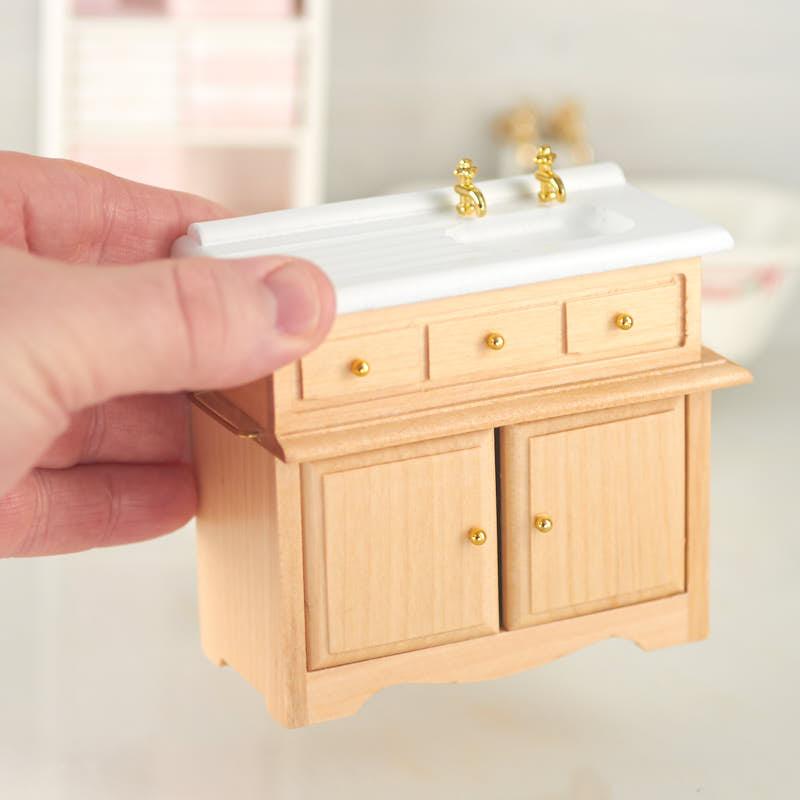 Dollhouse Miniature Kitchen Sink With Oak Cabinet Kitchen Miniatures Dollhouse Miniatures