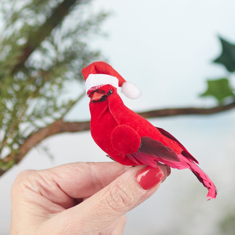 Artificial Cardinal With Santa Hat Birds And Butterflies