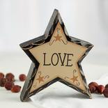 "Rustic ""Love"" Chunky Wood Star"