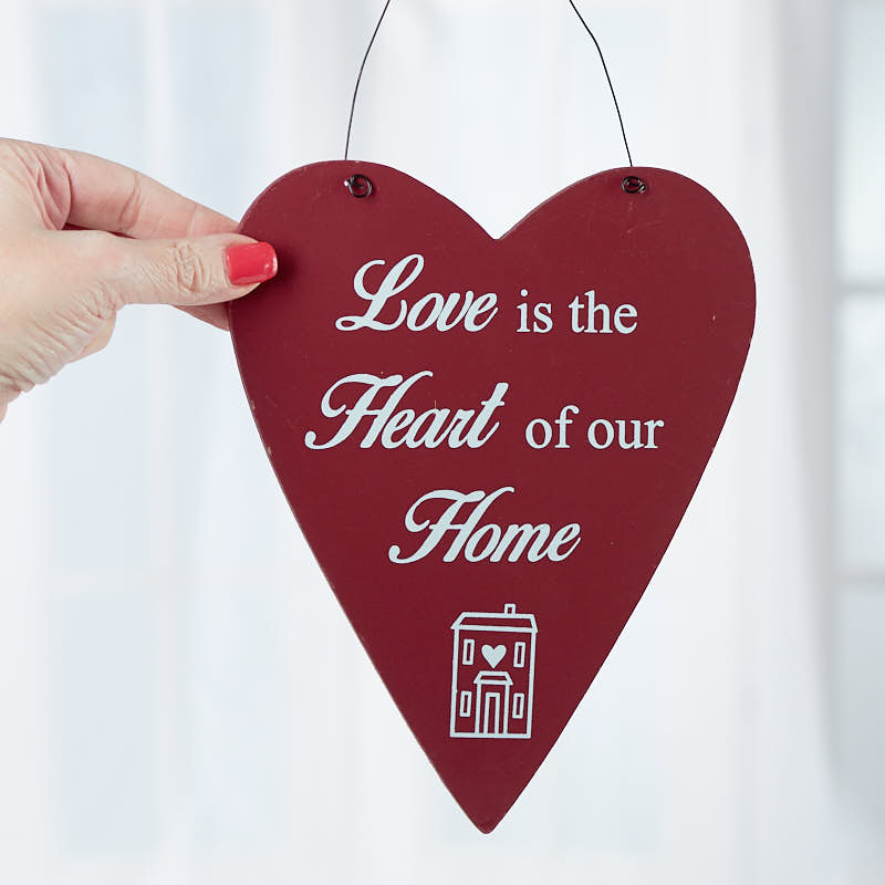Love Is The Heart Of Our Home Wood Heart Ornament Wall